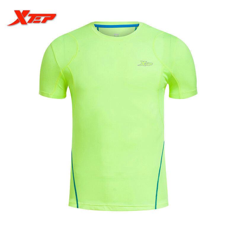Toko Xtep Cepat Kering Merek Olahraga Pria T Shirt 2016 Gaya Musim Panas Pria Di Luar Rumah Berjalan T Shirt Atasan Leher O Olahraga Hijau Lengkap Di Tiongkok
