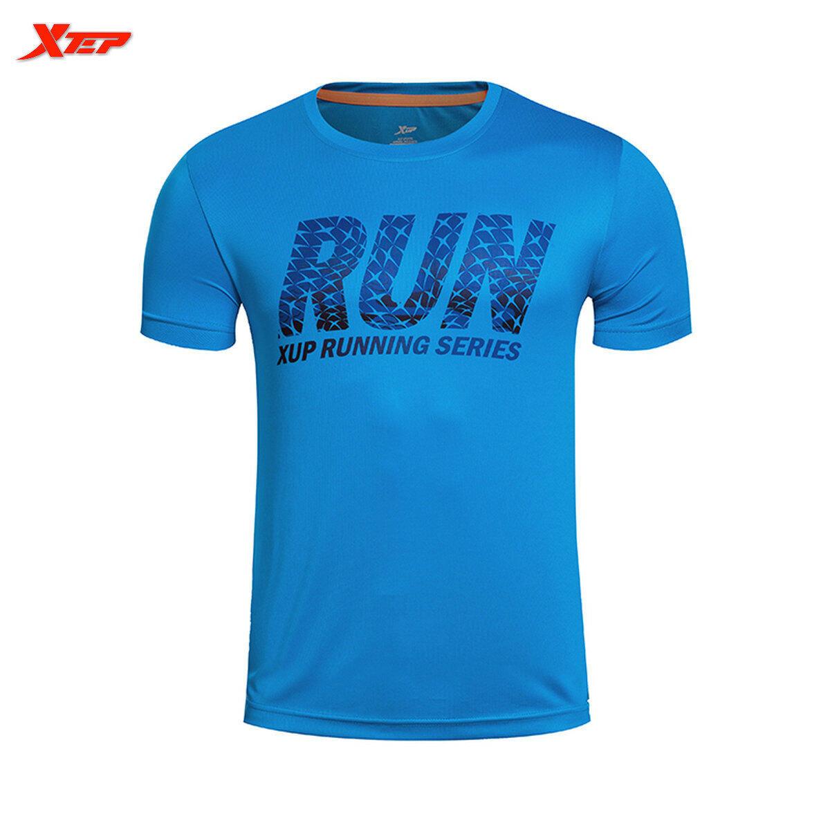 Xtep Merek Luar Lari T Shirt For Pria Puncak Pusat 2016 Musim Panas Olahraga Pria Kemeja Pria Baju Cepat Kering Biru Terbaru