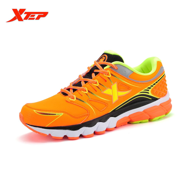 Diskon Xtep Merek Profesi Sepatu Lari 2016 Musim Gugur Musim Dingin Pria Olahraga Sepatu Redaman Bantalan Sneaker Atletik Orange Intl Xtep