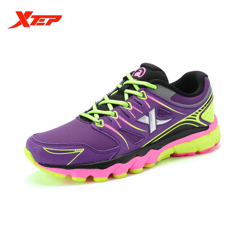 Jual Xtep Profesional Merek Sepatu Lari Untuk Wanita China Cahaya Kulit Sepatu Olahraga Wanita Redaman Atletik Lari Sepatu Kets Ungu Xtep Grosir