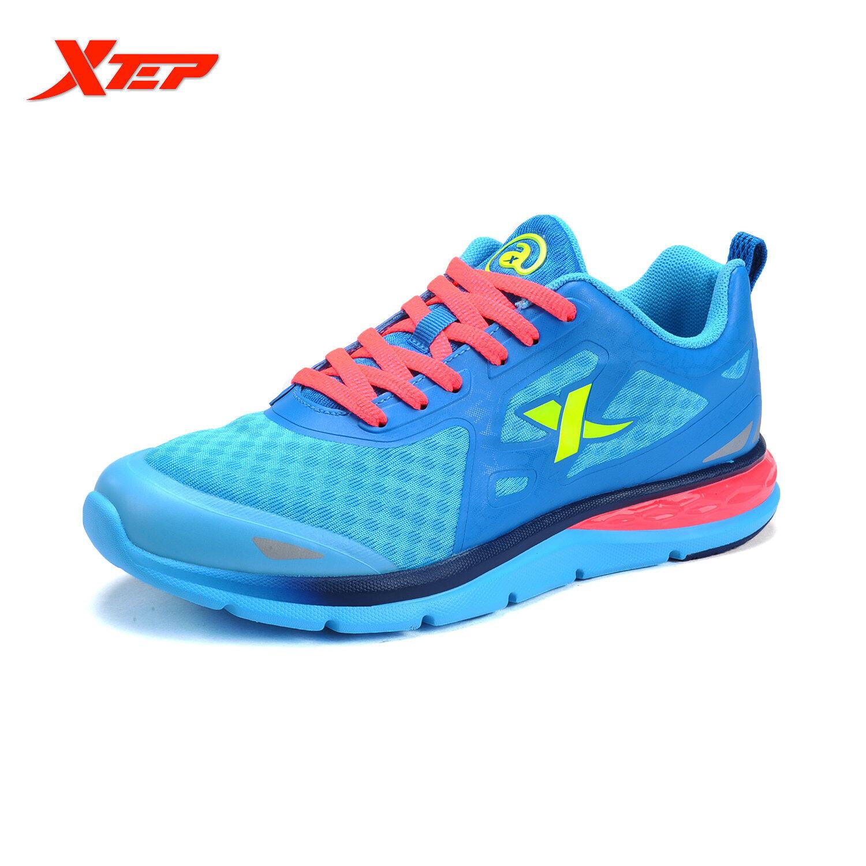 Promo Xtep Asli Bermerek Sepatu Lari Sepatu Kets Wanita Sepatu Olahraga Atletik 2016 Sepatu Musim Panas Sejuk Cahaya Biru Merah Indonesia