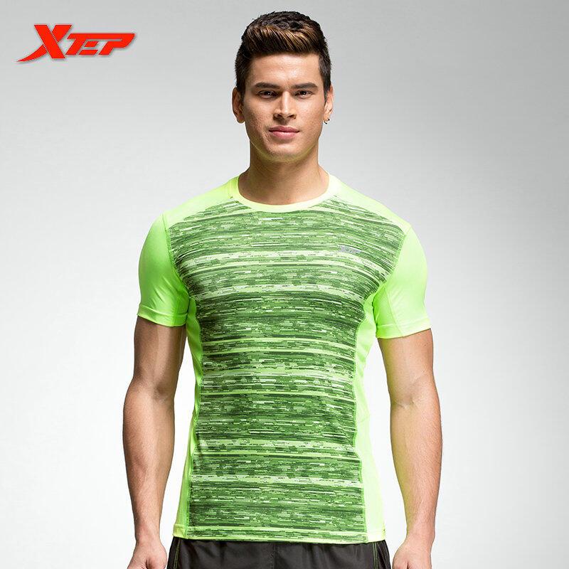 Xtep Baju Lari Untuk Pria Athletic Pakaian Polyster Tops Fit Olahraga Kemeja Cepat Kering Pria Kemeja Sportswears Hijau Intl Murah