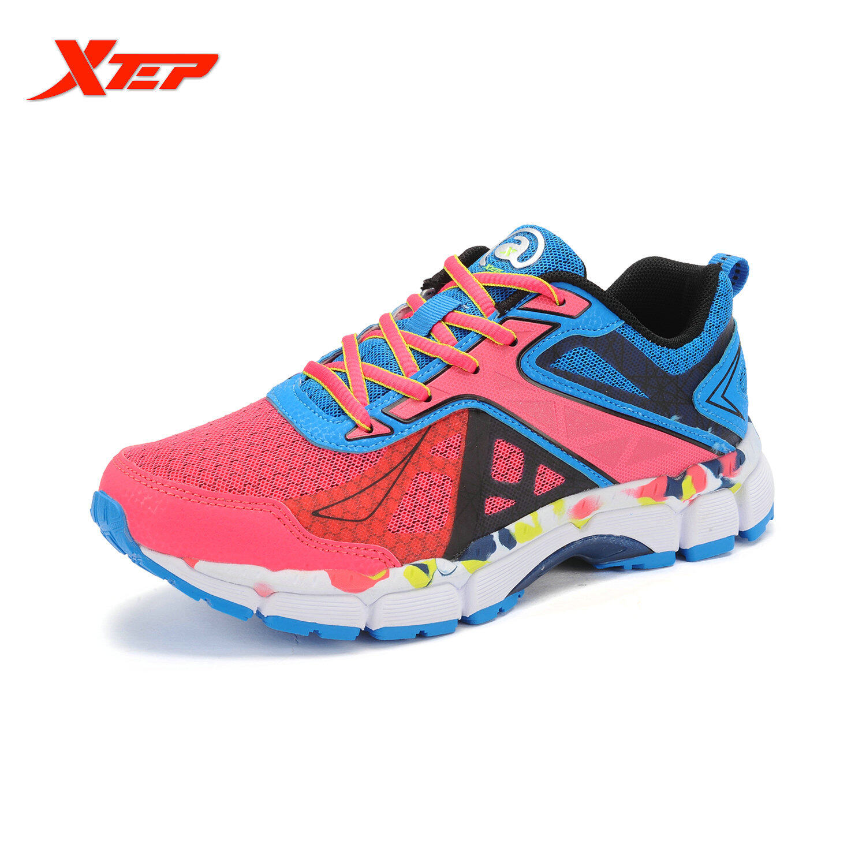 Harga Xtep Musim Panas Sepatu Lari Untuk Wanita China Merek 2016 Sepatu Olahraga Wanita Sepatu Sneaker Ukuran Besar Wanita Sepatu Sejuk Berwarna Merah Muda Fullset Murah