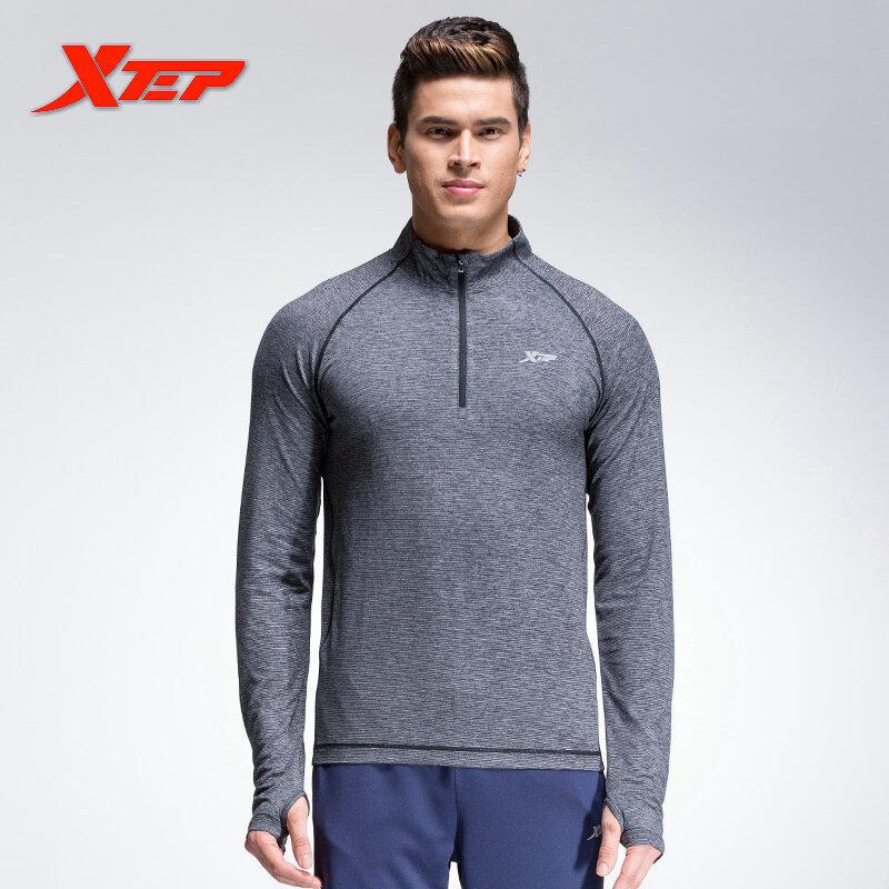 Toko Xtep T Shirt Lengan Panjang For Pria Kompresi Garment Baju Lari Kebugaran Olahraga Dirty Sweat Angkat Berat Pakaian Abu Abu Xtep Online