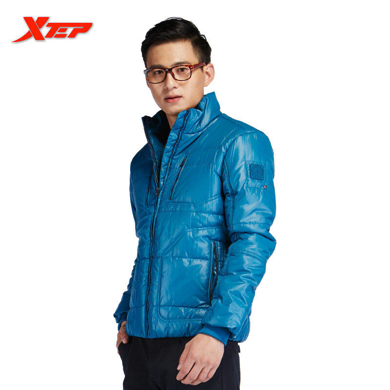 Toko Xtep Musim Dingin Jaket Termal Untuk Pria Kolam Outdoor Bersepeda Mantel Sportswear Outwear Padded Katun Mantel Hangat Biru Intl Dekat Sini