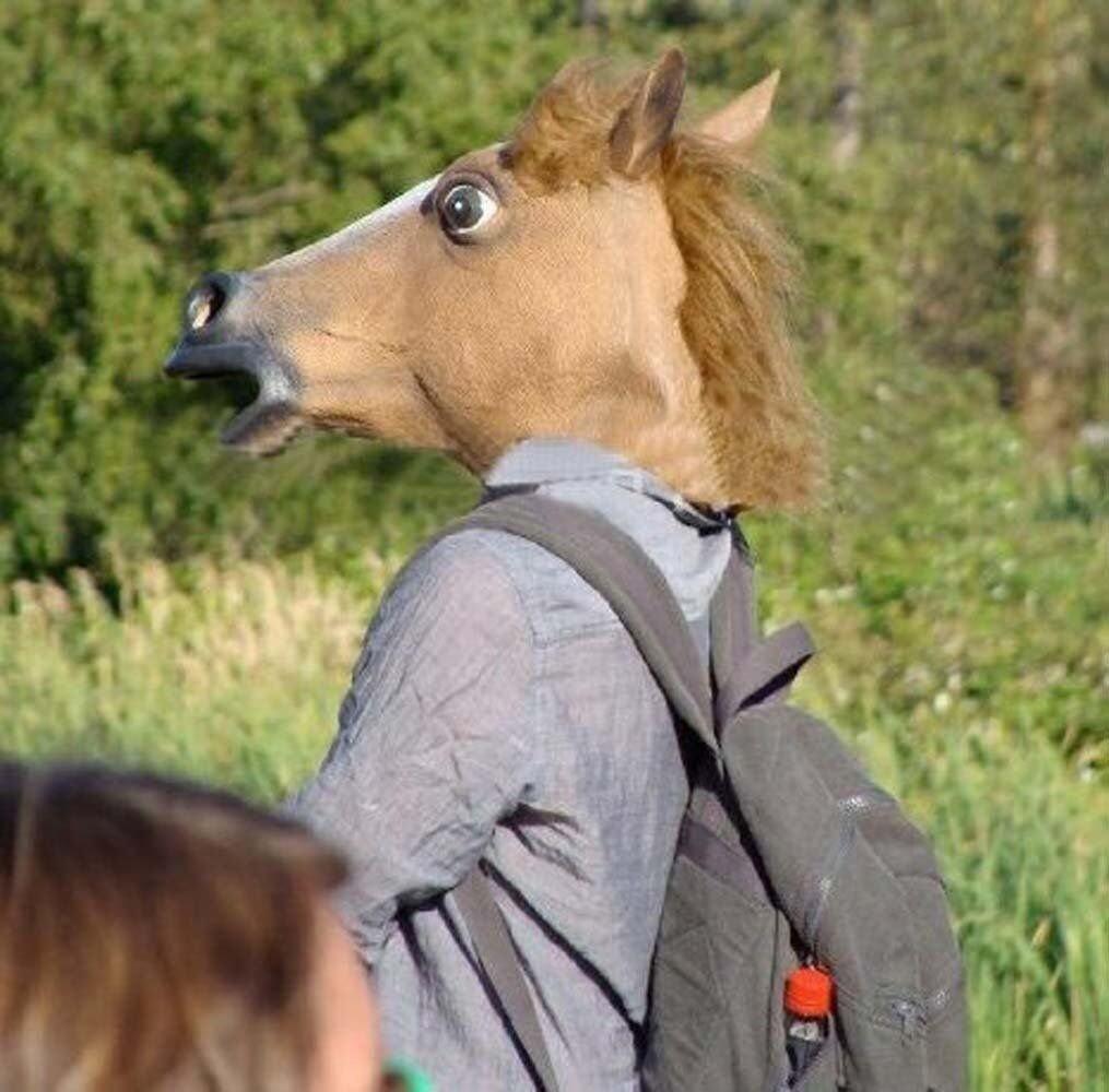 GETEK Horse Head Latex Mask Halloween Party Costume Cosplay (Brown ...