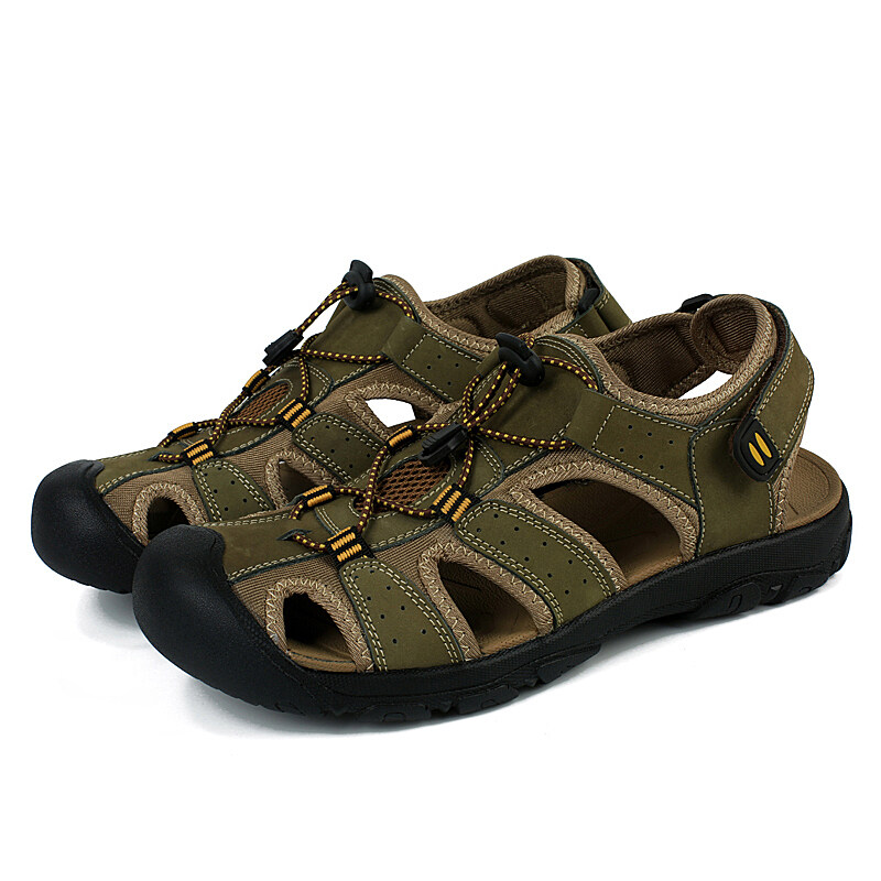 Harga Yinglunqishi Pria Datar Kulit Sporty Sandal Sandal Hiking Shoes Hijau Intl Asli Yinglunqishi
