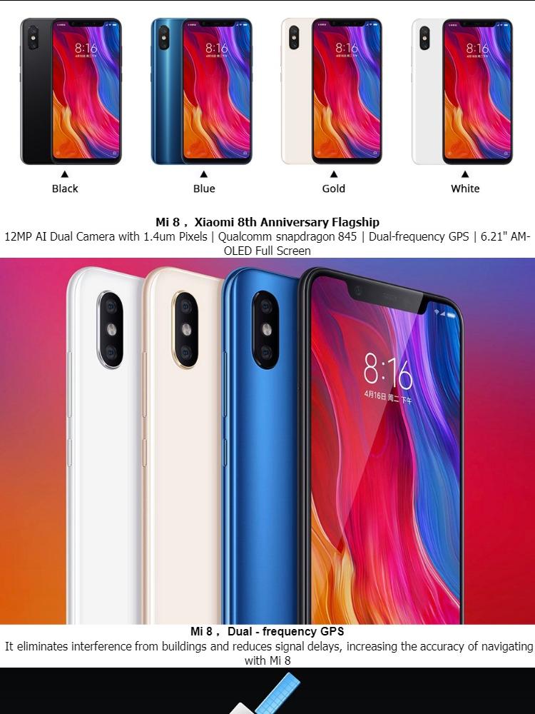 [READY STOCK] Xiaomi Mi 8 Dual Sim 64GB/128GB/256GB + 6GB RAM Dual Sim LTE  - Global ROM version / 1 Year Local Seller Warranty