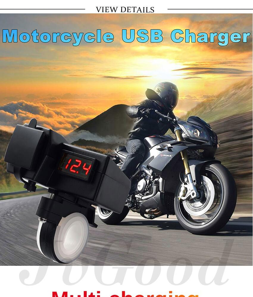 USB Charger Cable GPS Power Adapter+Voltmeter 12V Motorcycle Tour Bike ATV SAE