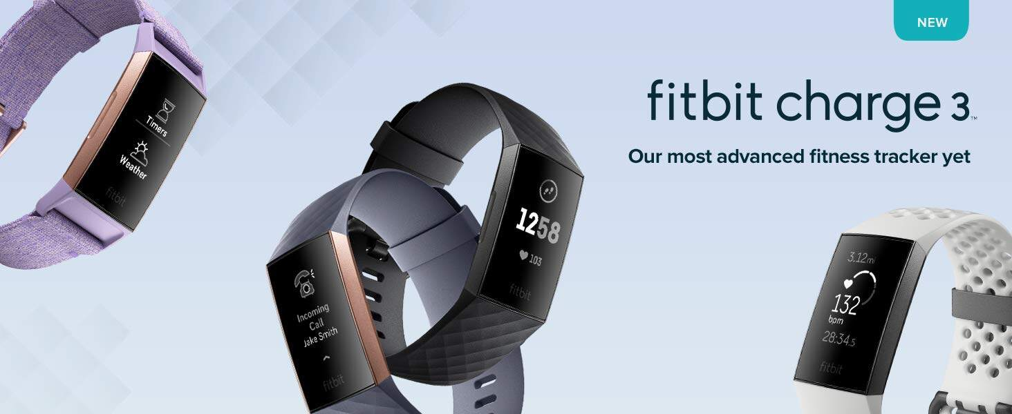 Fitbit Charge 3 Smart Fitness Smartwatch (Black/Rose Gold/White/Lavender  Woven) *FREE 1 YEAR EXTENDED WARRANTY*