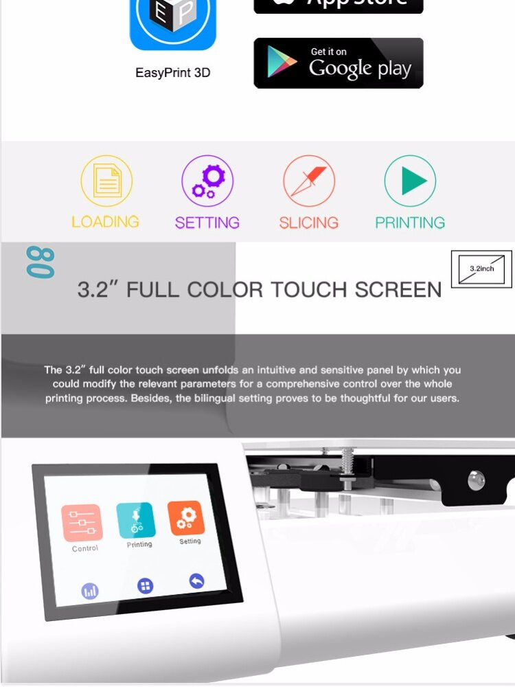 Geeetech 3d printer Open Source High Precision 3D Printer E180 Wifi  Connectivity Full Color Touch Screen 1 75mm 0 4m Newest 3d printers