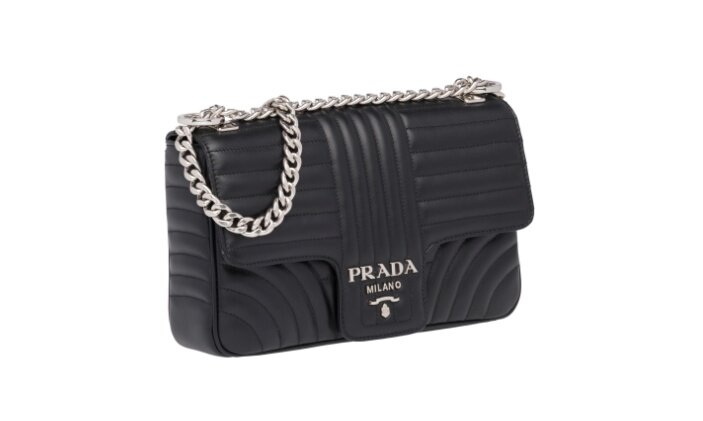 62bdb88c4cb40e Prada Diagramme leather shoulder bag The distinctive geometric motif  decorates the front and back of the Prada Diagramme calf leather bag.