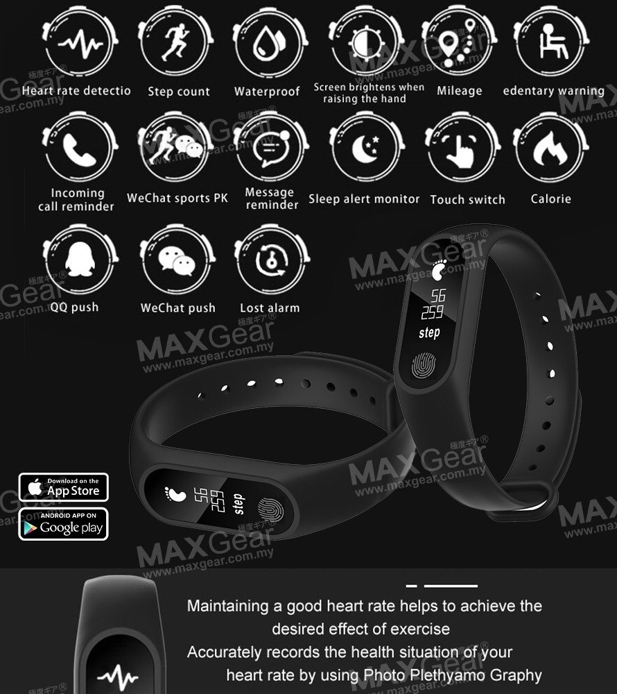 MAXGEAR Malaysia Heart Rate Smartband Monitor OLED Fitness Wristband Smart  watch Smart Band Support iOS Android