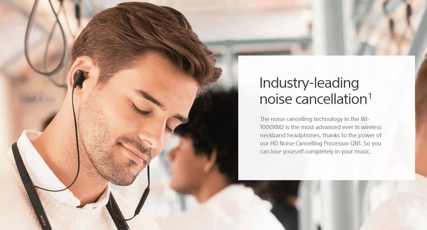 Compatible with Alexa 10 Hours Battery Life with Quick Charge Flexible Neckband Style Hi-Res Audio Sony Wi-1000xM2 Industry-Leading Noise Cancelling In-Ear Headphones Black