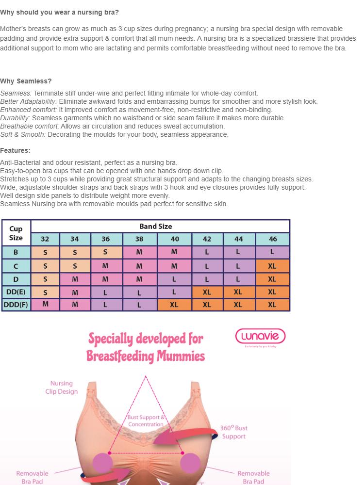 8ecd54716c0c5 Specifications of LUNAVIE SEAMLESS NURSING BRA (FREE BRA EXTENDER)