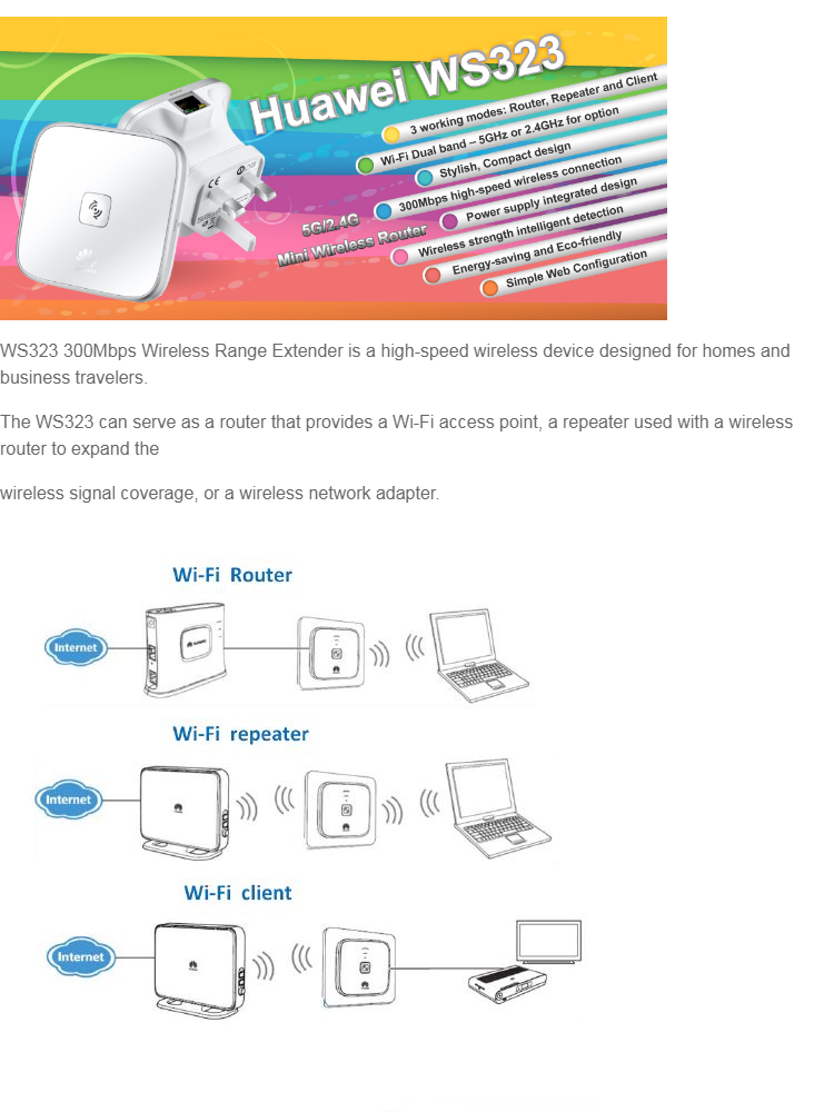 HUAWEI WS323 300Mpbs High Speed Mini Wireless Router WiFi Repeater