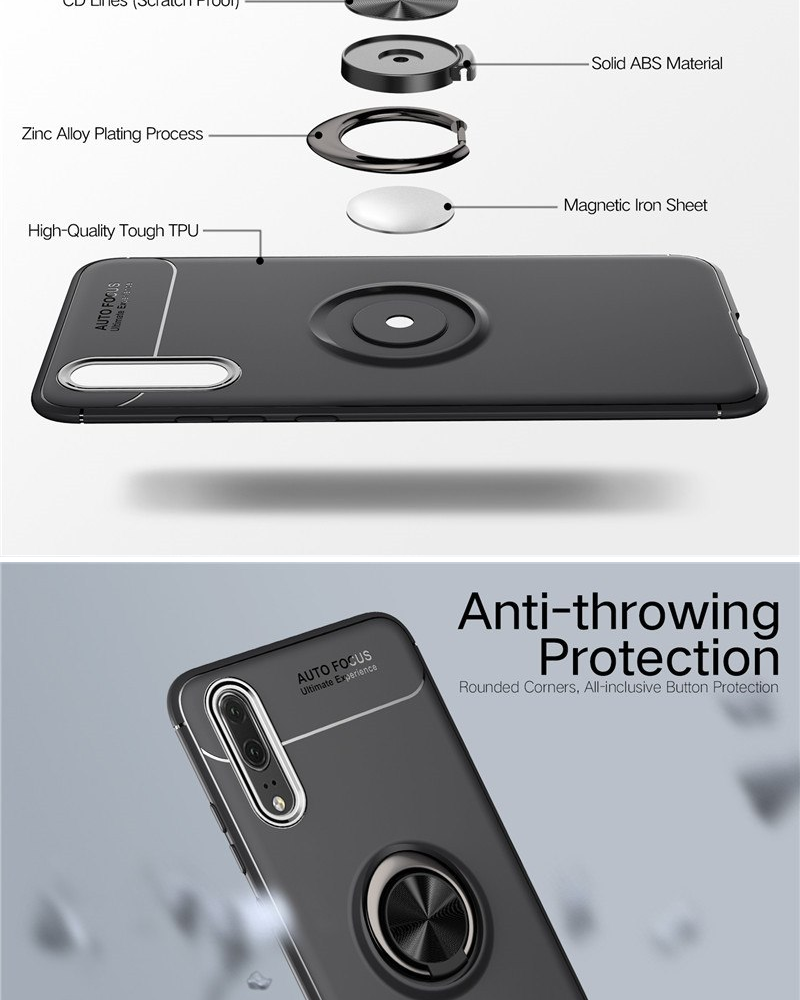 [CLEAR STOCK PRICE] Huawei P20 Pro Magnetic Car Holder Case with 360°  Kickstand Rotating Ring [6 1 inches]