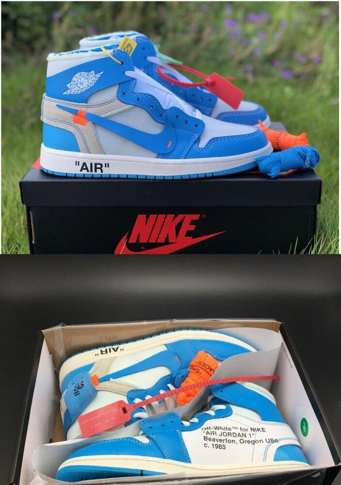 release date e690c b47d9 2019 NIKE_Air Jordan 1 Retro High x OFF WHITE Powder Blue Sneaker Shoes