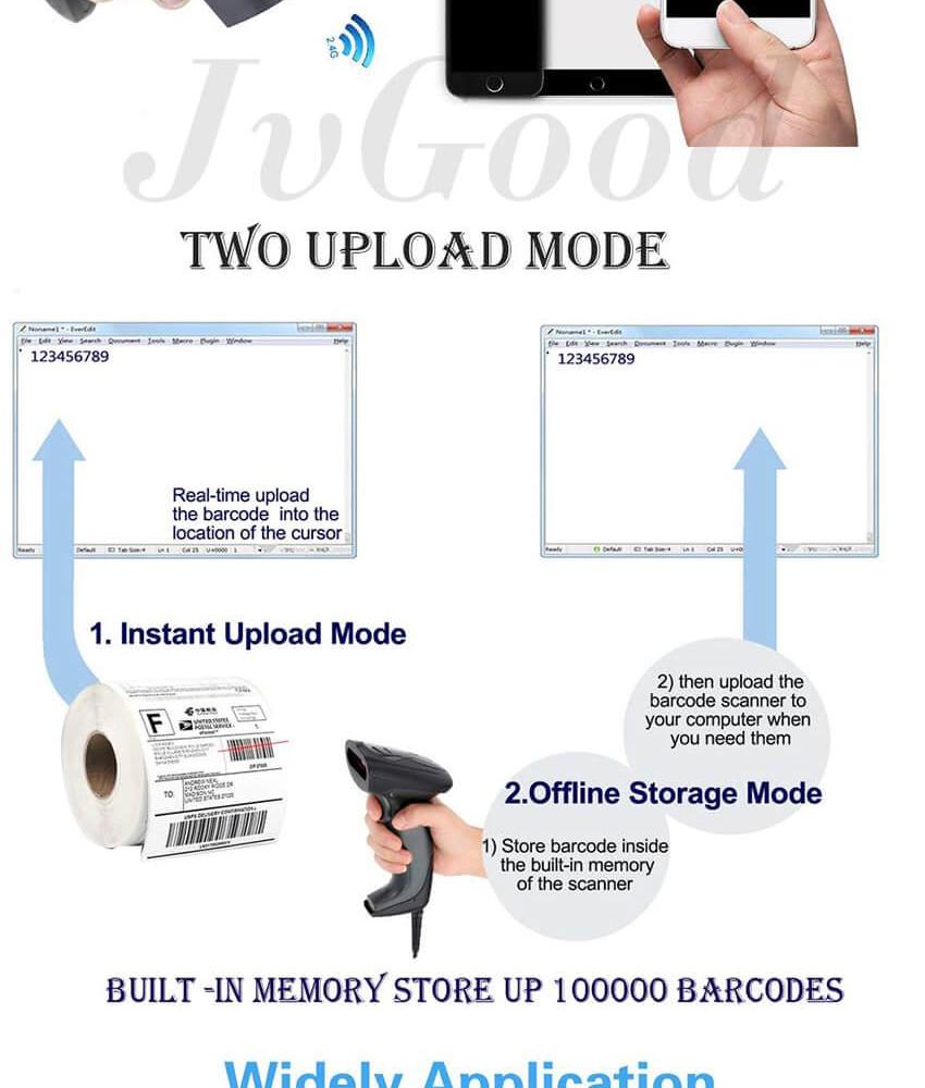 JvGood Wireless Barcode Scanner USB Wired/Wireless Barcode Reader Scanner  Handheld High Speed 2 4G Laser Bar Code Scanner 1D for Window PC