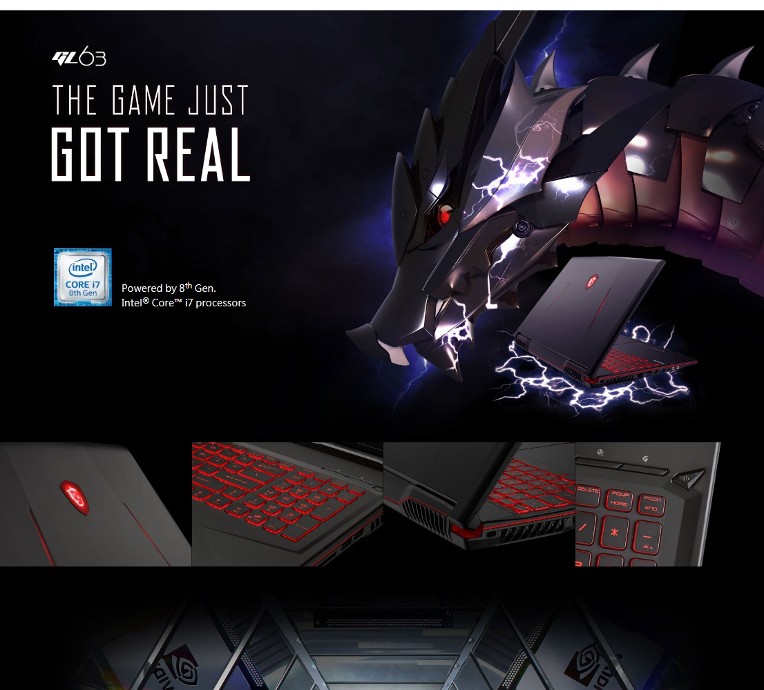 (UPGRADED) MSI GL63 8SE-099MY 15 6˝ GAMING LAPTOP i5-8300H,RTX2060  6GB,8GB,256GB SSD+1T HDD,W10 (FREE BUNDLE WITH 256GB SSD/BACKPACK/WIRELESS