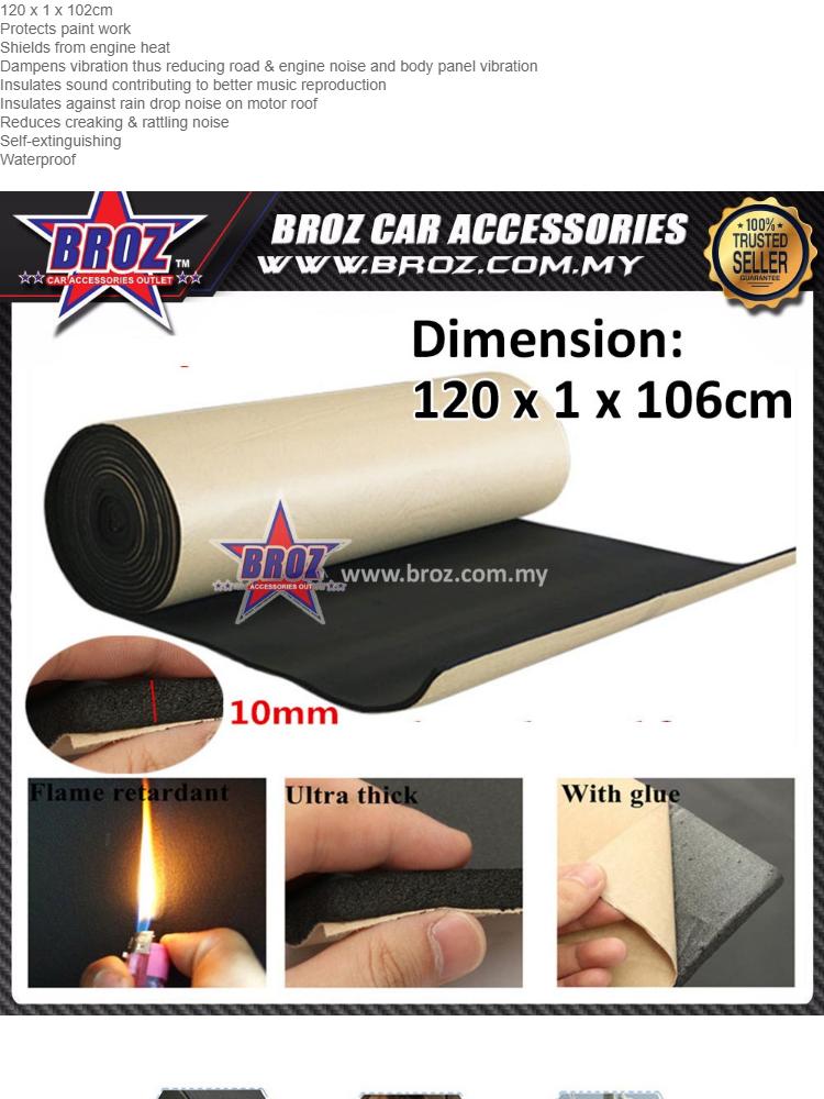High Quality Deadening Bonnet Sound Proof Insulation Heat Shield Mat 102 x  1 x 122cm (4FT) Proton Perodua Honda Toyota Nissan Hyundai Kia Suzuki Ford