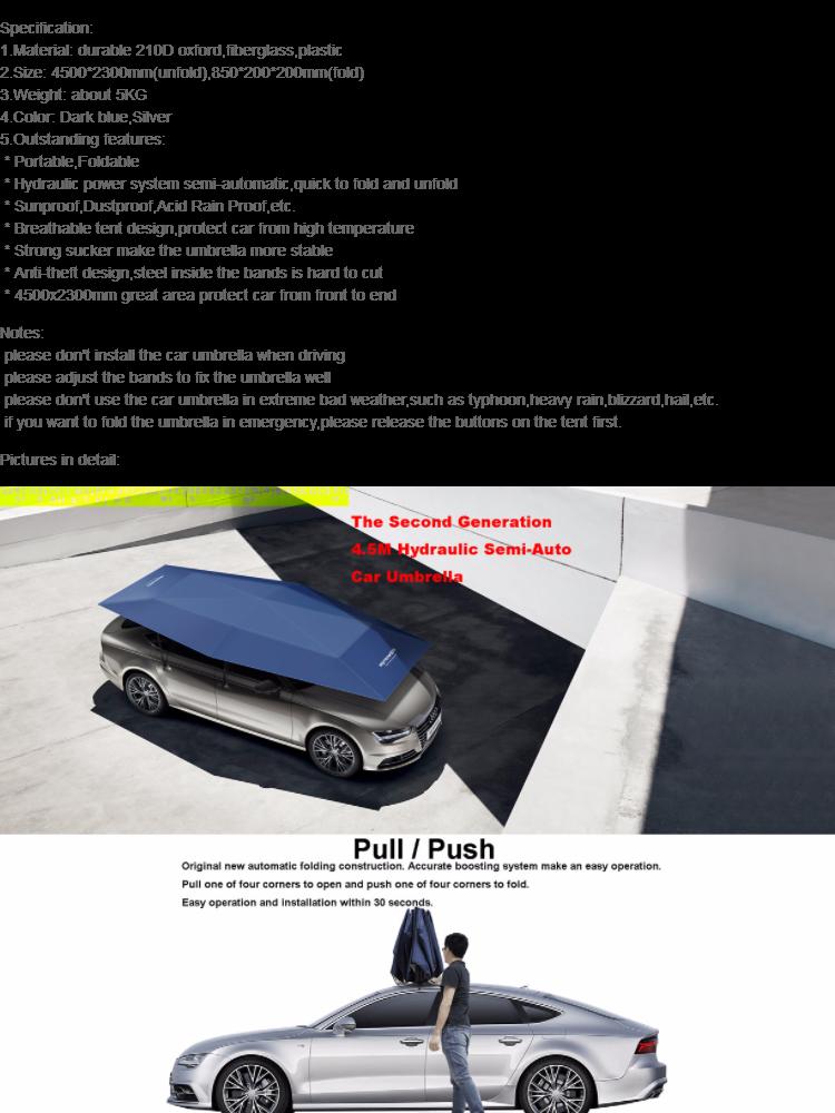 High Quality 4 5m Portable Foldable Semi Automatic Sunproof Car Umbrella Canopy Cover Automobile Protection Sunshade Tent