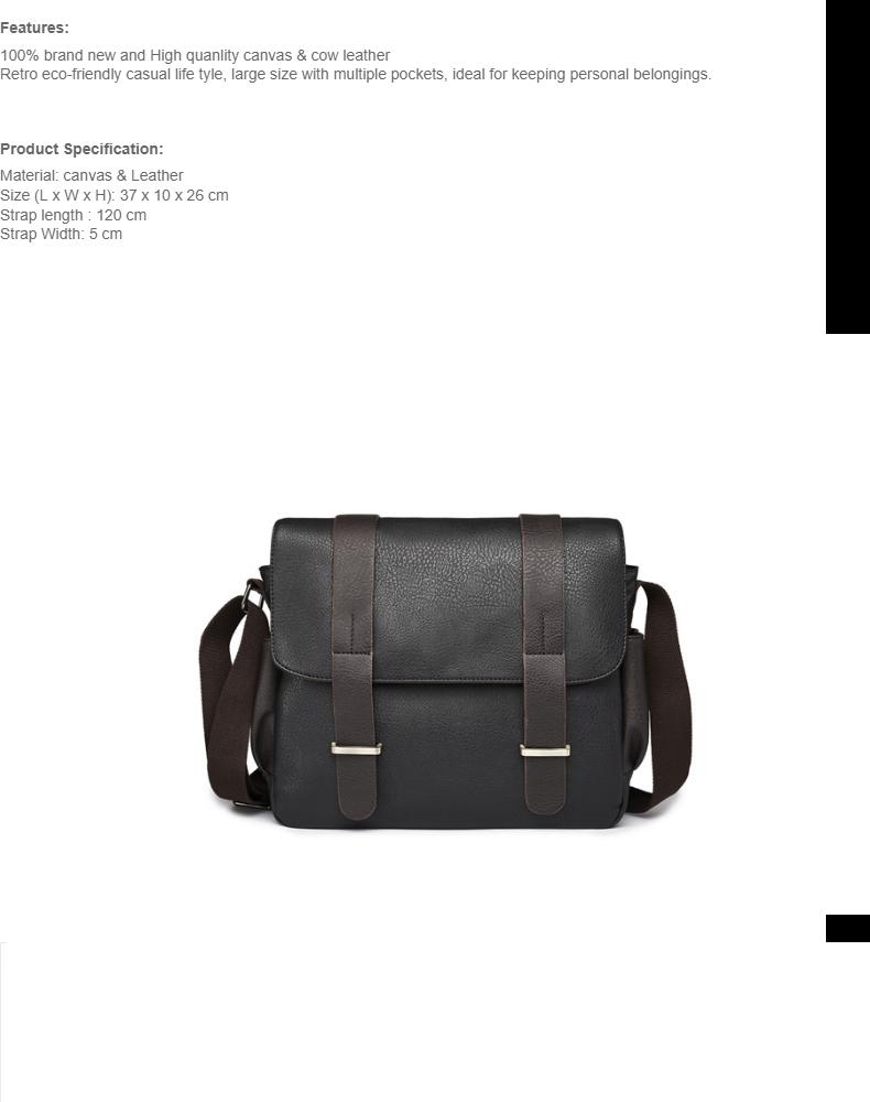 83aebd061e15 MILANDO Men Vintage Canvas PU Leather School Messenger Sling Bag Bags Beg  Lelaki (Type 6)