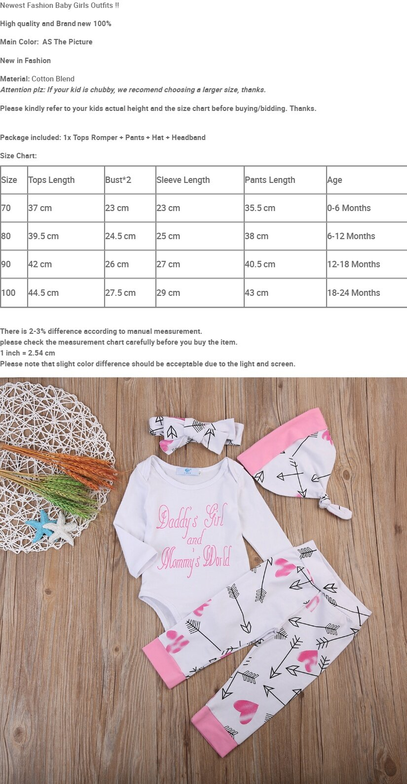 1675a4268def4 Specifications of 4PCS Newborn Baby Girls Romper Bodysuit Pants Leggings  Hat Outfits Clothes Set