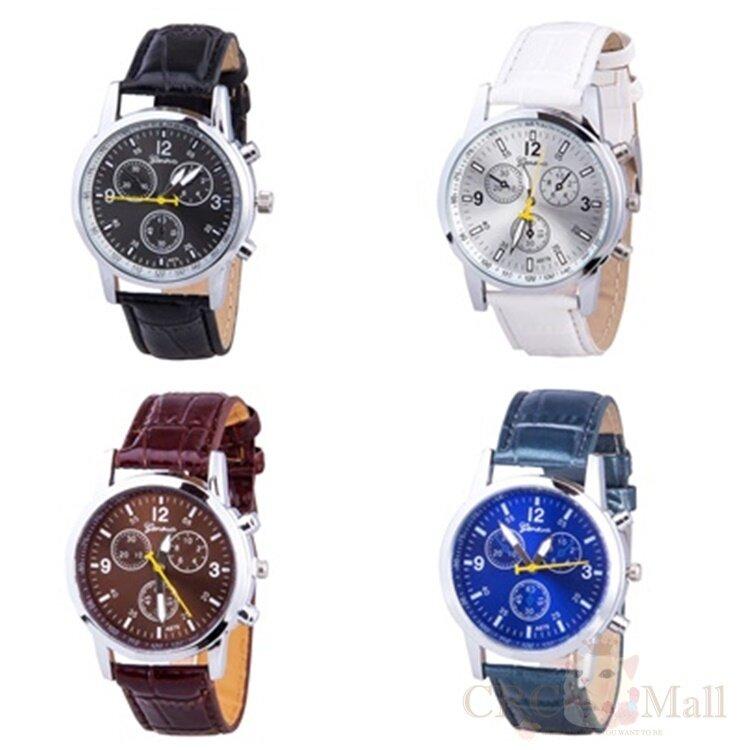 Tenaris Fashion Crocodile Faux Leather Mens Analog Watch Watches (White)