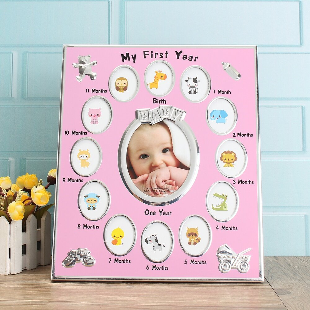 First Year Baby Photo Frame Silver Plated 12 Months Christening Gift