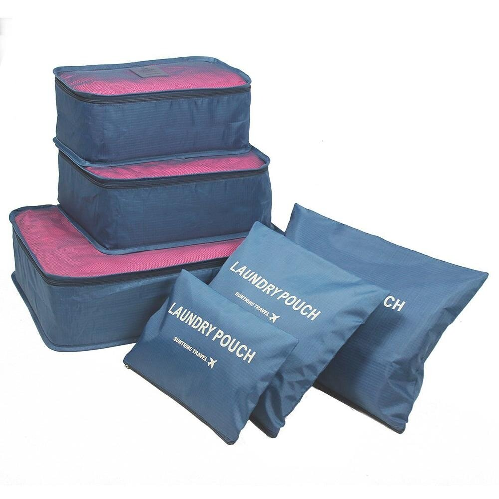 cd767e11296 niceEshop 6Pcs Waterproof Travel Storage Bags Clothes Packing Cube Luggage  Organizer Pouch (blueberry)