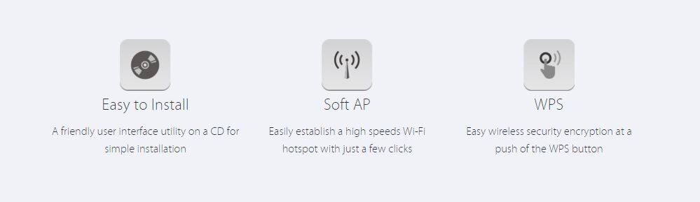 Image result for Easy to Install A friendly user interface utility on a CD for simple installation Soft AP Easily establish a high speeds Wi-Fi hotspot with just a few clicks WPS Easy wireless security encryption at a push of the WPS button