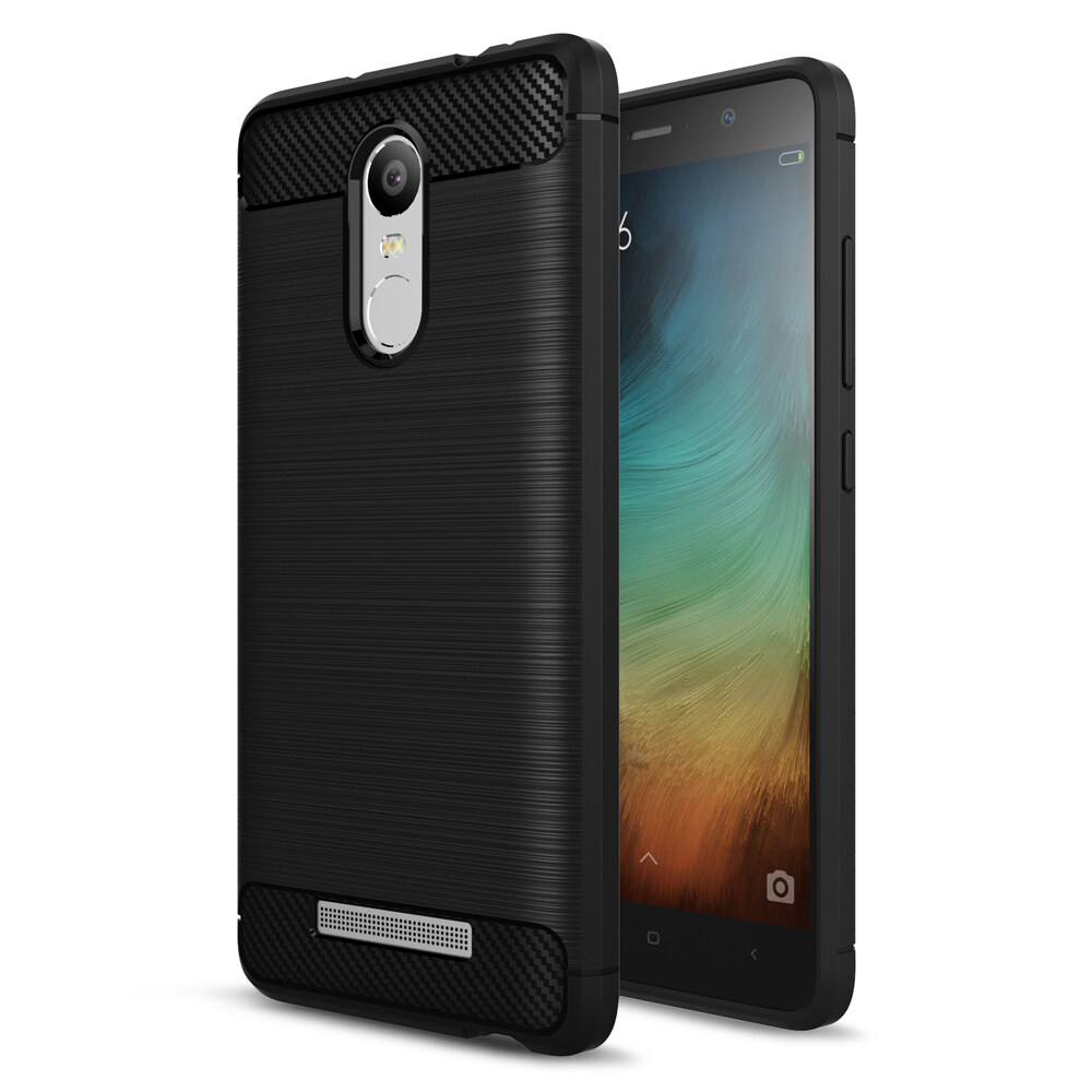 brand new 4f169 184c6 Carbon Fibre Brushed TPU Case for Xiaomi Redmi Note 3 / Note 3 Pro - Black