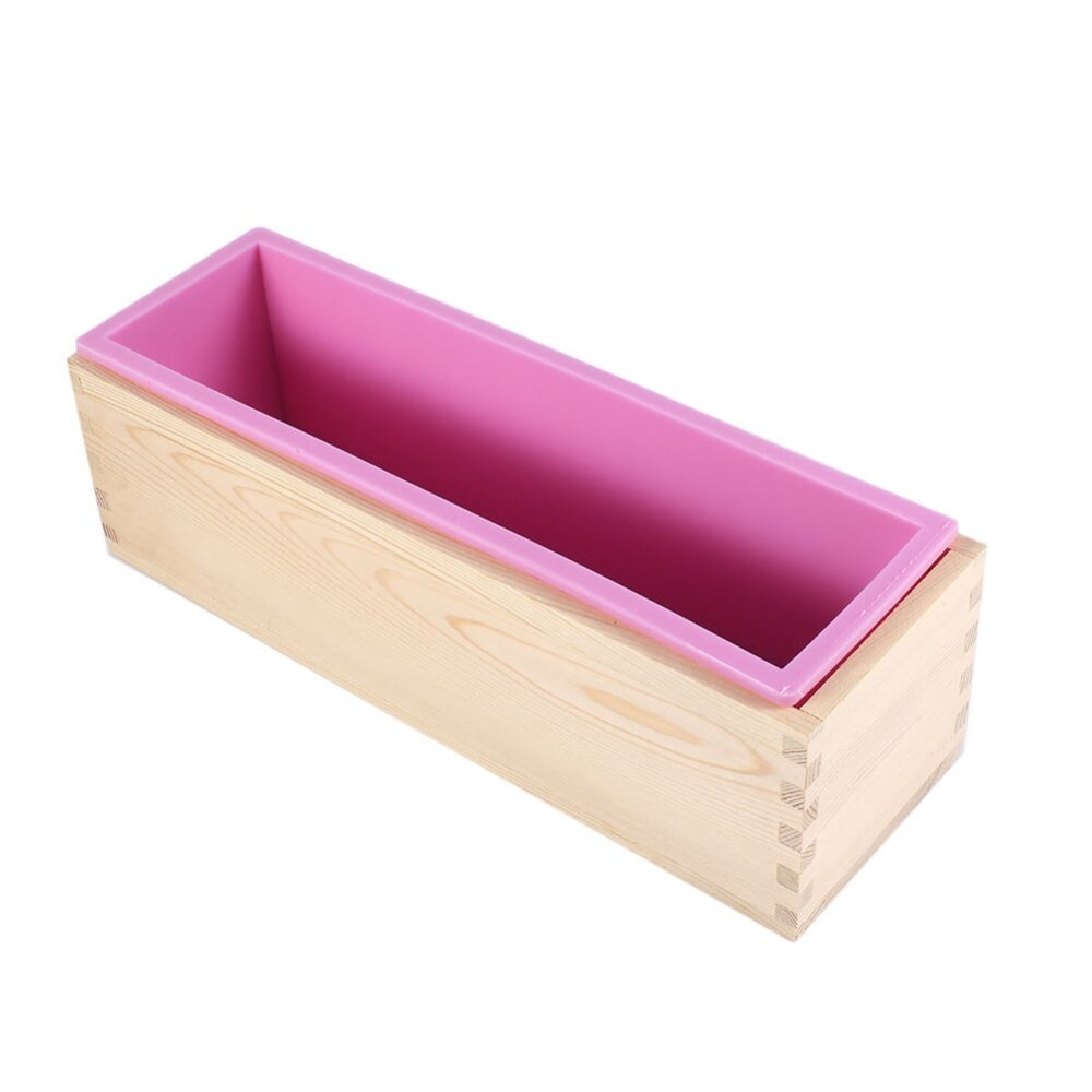 Epayst Rectangle Silicone Liner Soap Mould Wooden Box Diy Making