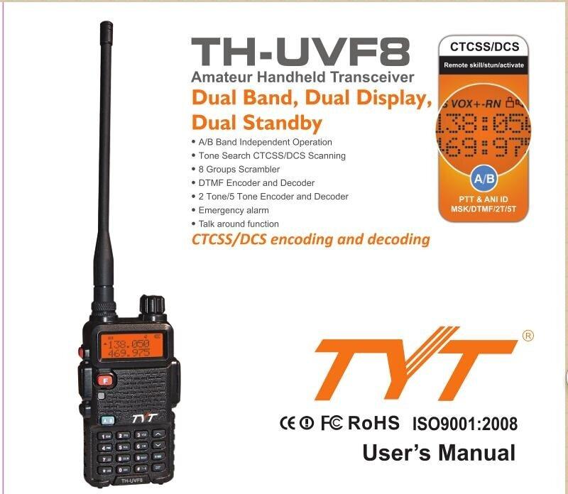TYT UVF8 UV-F8 F8 7W UHF/VHF Dual Band Walkie Talkie