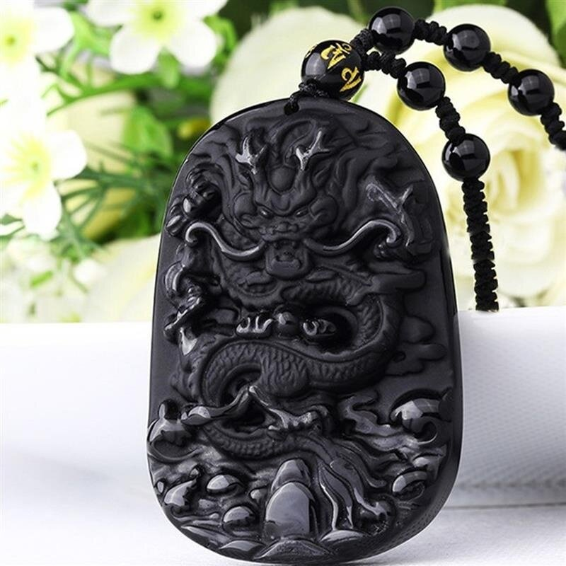 China 100/% Natural A black Obsidian hand Carved Dragon Lucky pendant