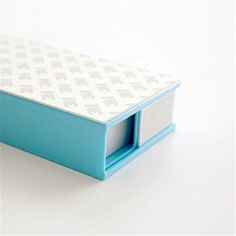 White and Blue Chris.W 1Pack Self-Stick Pencil Tray Under Desk Holder Pop-up Pen Storage Drawer Organizer