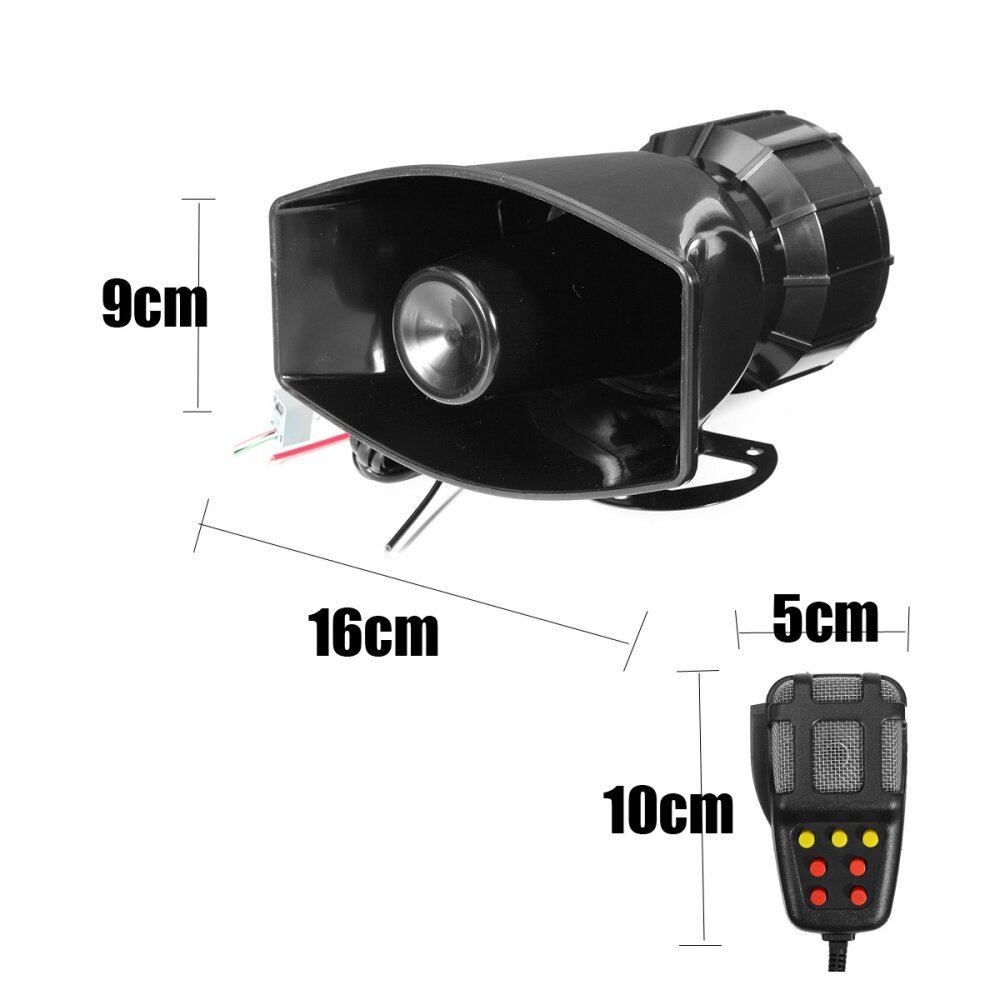 12V 100W 4 Sound Tones 120-150dB Loud Car//Motorcycle Warning Alarm Police Fire Siren Horn with Black Wireless Remote Controller