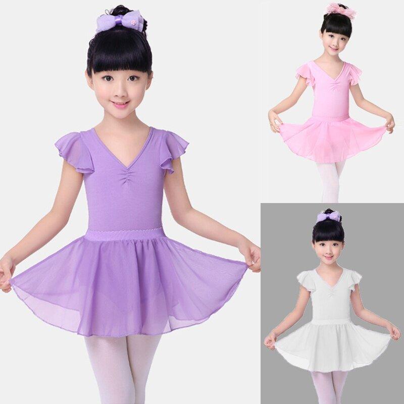 Girls Gymnastics Leotard Dress Ballet Tutu Skirt Dance Dress Dancewear Costume