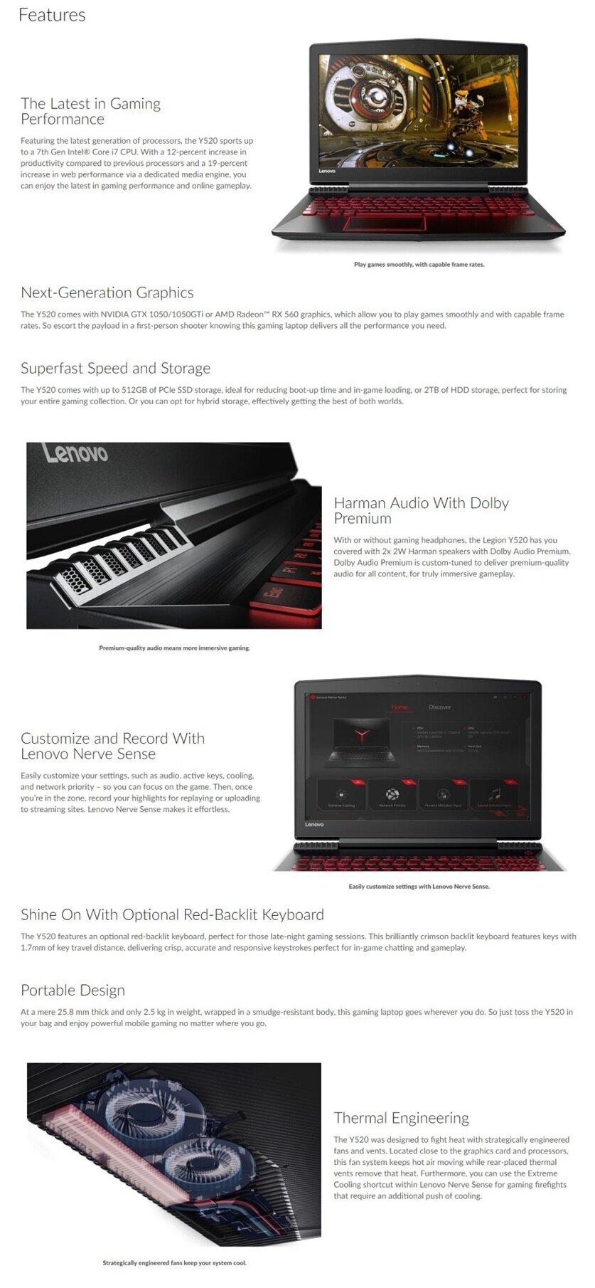Lenovo LEGION Y520-15IKBN-80WK 80WK014CMJ (Black)  i7-7700HQ/GTX1050-4GB/15 6