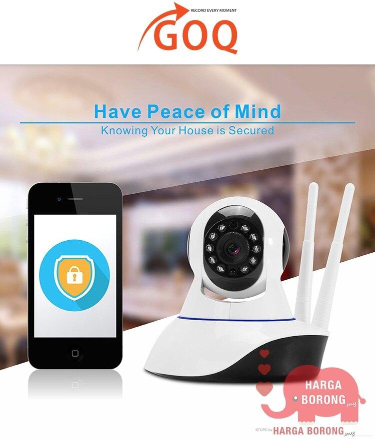 GOQ Q9 Dual Antenna IP Security Camera Cam 720P HD Wifi Home Shop Office  CCTV Night Vision